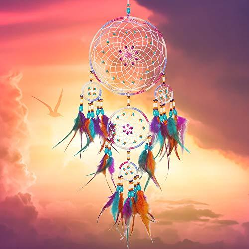 NICEMOVIC Atrapasueños – hecho a mano exquisita pluma con cuentas grandes atrapasueños para niños/coches/dormitorios – Arte tradicional indios para colgar en la pared Decoración del hogar