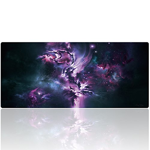"""AliBli Large Gaming Mouse Pad XXL Extended Mat Desk Pad Mousepad Long Non-Slip Rubber Mice Pads Stitched Edges 35.4""""x15.7"""" (030guangyun)"""