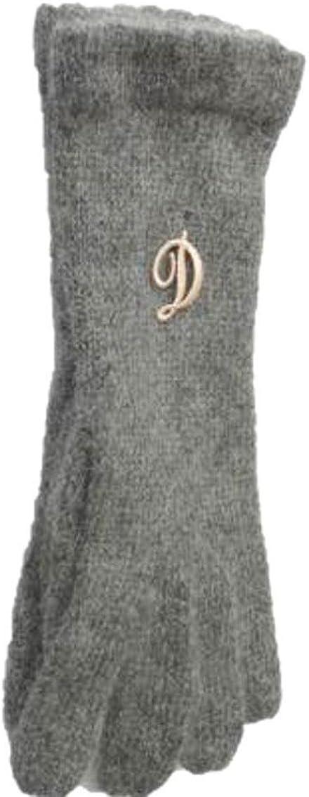 Dark Grey Angora Gloves Trimmed with Customer Chosen Monogram Letter