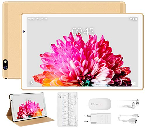 Tablet 10 Pollici FACETEL Q3 Android 9.0 con 4GB RAM 64GB ROM Espanso 128GB,Tablets PC con Tastiera e Mouse,5.0+8.0 MP Telecamera,Certificato Google GSM,WIFI,GPS,Bluetooth,FM,OTG-Oro