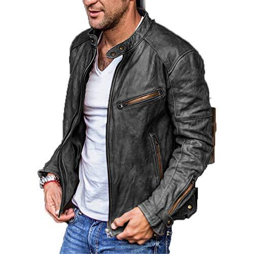 Sijux Chaqueta para Hombre Cuero PU Motocicleta Soporte Collar Abrigo Vintage Casual Outcoat Punk Biker Racer Outwear,Negro,XXXL
