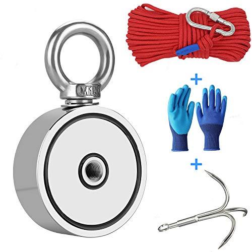 360KG Haftkraft Doppelseitig Neodym Ösenmagnet mit Suchanker + Handschuhen + 20m Seil, N52 Super Stark Power Magnete Perfekt zum Magnetfischen - Ø 67mm mit 2 Öse Neodymium