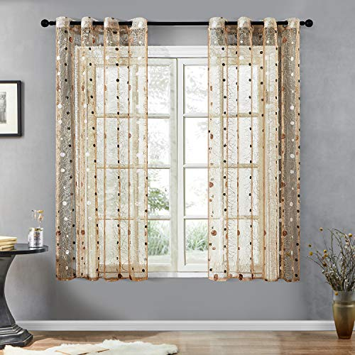 Top Finel Embroidered Dot Voile Sheer Curtains 63 Inch Length for Living Room Bedroom Grommet Window Curtains, 2 Panels, Brown