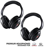 Wireless Headphones for Toyota and Lexus (2 Pack) by DriveAudio for Sienna, Venza, Sequoia, Land Cruiser, Highlander, 4Runner, Tundra, Camry, Avalon, GX, LS, RX, LX, NX, 350, 450H 2002-2018