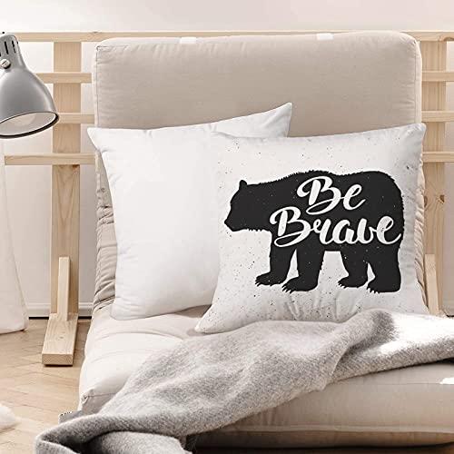 Funda de Cojines Suave Poliéster,Vintage Bear Be Brave Lema motivacional Letras manuscritas,Funda de Almohada Cremallera Oculta Duradero Decoración para Sofá Cama Dormitorio Aire Libre Oficina 45x45cm
