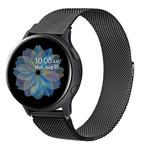 Senka 20mm Metal Correa Compatible con Samsung Galaxy Watch Active 40mm/Active2 40mm 44mm,Pulseras de Repuesto de Inoxidable para Samsung Galaxy Watch 42mm/Watch 3 41mm/Gear Sport(20mm,Negro)