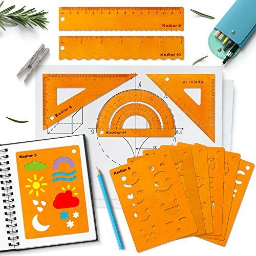 Set di Strumenti per la Geometria Righello Squadre Goniometro per Matematica e Strumenti da Disegno Stencil Bullet Journal 12 Pezzi