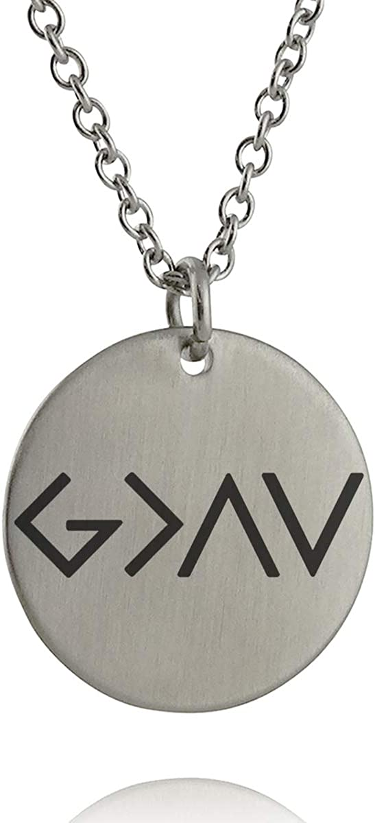 FashionJunkie4Life God is Greater Than The Highs and Lows Pendant Necklace - Engraved Stainless Steel with 18