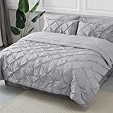 Bedsure Comforter Set Queen/Full Bed in A Bag Grey 8 Pieces - 1 Pinch Pleat Comforter(88X88 inches), 2 Pillow Shams, 1 Flat Sheet, 1 Fitted Sheet, 1 Bed Skirt, 2 Pillowcases