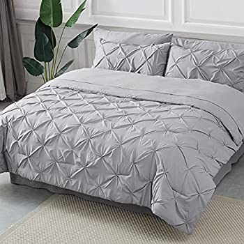 Bedsure King Comforter Set 8 Pieces- Pintuck King Bedding Set Pinch Pleat Grey King Size Bed in A Bag with Comforters Sheets Pillowcases & Shams