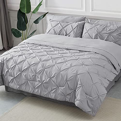 Bedsure 8 Pieces Pinch Pleat Down Alternative Comforter Set King Size