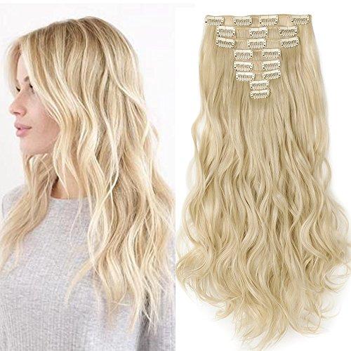 """Clip in Extensions wie Echthaar günstig Haarteile 8 Tresssen 18 Clips für komplette Haarverlängerung Gewellt Haarextensions 17""""(43cm)-140g Hell-Lichtblond"""