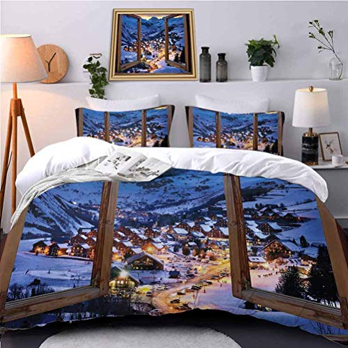 UNOSEKS LANZON Kids' Quilt Set oden Primitive Windows Cityscape European Mountain Houses Village Cottages House Comforter Cover Never Fades After Multiple Washes - Queen Size