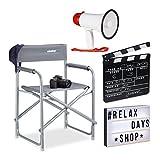 Relaxdays Pack de Silla Director, Caja de Luz con 85 Fichas, Megáfono de 10 W y Claqueta Cine Negra de Madera