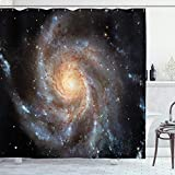 Ambesonne Galaxy Shower Curtain, Stars in Galaxy Spiral Planet Outer Space...
