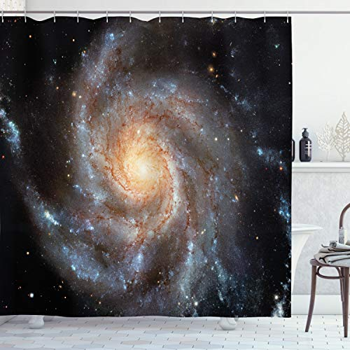 Ambesonne Galaxy Shower Curtain, Whirlling Stars in The Galaxy Spiral...