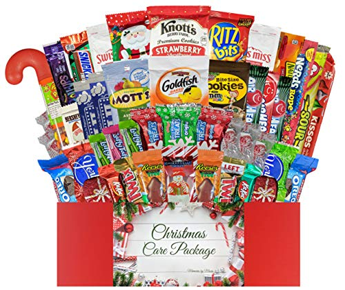 45 CT Christmas Care Package for College Students, Men, Women, Kids or Military - Variety Snack Pack Assortment of Candy, Chocolate, Crackers, Cookies and Snacks - Movie Night (Deluxe Christmas)