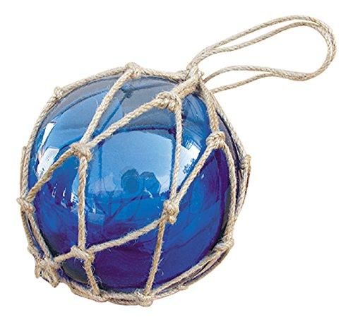 Fischerkugel Glas & Tauwerk/Sisal BLAU - perfekt für die maritime Dekoration