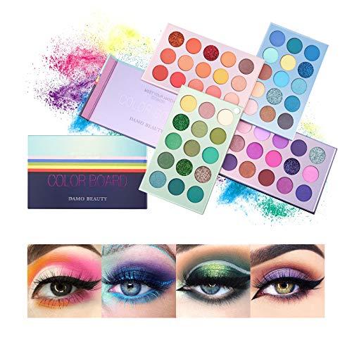 Mimore 60 Colors Supper Pigmented Color Board Long Lasting Makeup Pallets, Matte Shimmer Metallic Vegan Pigmented Eyeshadow Palettes Makeup Organiser Set