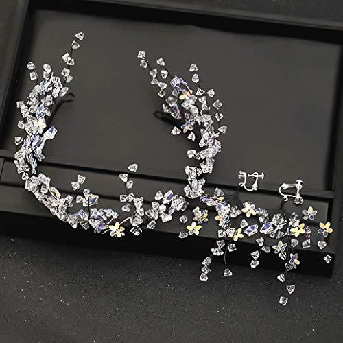 JJZXD Trendy Stars Kristall Stirnbänder Hochzeit Tiara und Kronen mit Ohrringen Sets Schwarz Draht Haarbänder Braut Haarschmuck
