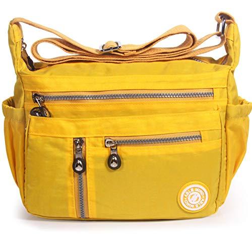 ABLE Waterproof Bolsos de Mujer Nylon Hombro Bolso Bolsa Impermeable para (4-Amarillo)