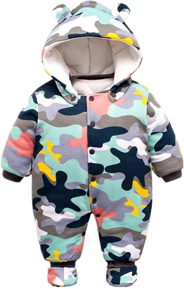 Beide Baby Boy Snowsuit, Fleece Camouflage Romper with Shoes