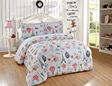 Luxury Home Collection Kids/Teens/Girls 7 Piece Full Size Comforter Bedding Set/Bed in A Bag with Sheets Multicolor Floral Hearts Paris Eiffel Tower Flowers Pink White Turquoise Green Yellow Black