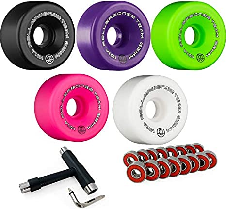 Set of 8 RollerBones Team Logo 101A Indoor Roller Skate Wheels with Bank Roll ABEC 9 Bearings and Laces
