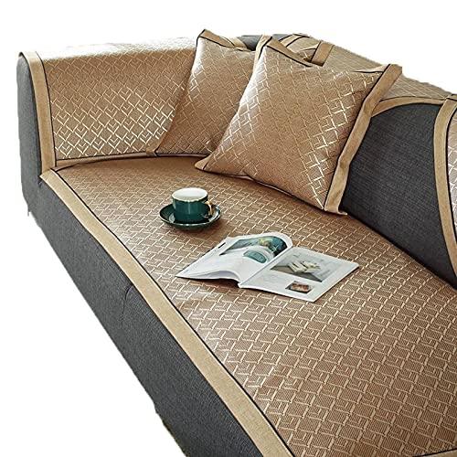 Funda de sofá de verano, antideslizante, elegante funda protectora de muebles, alfombrillas de mimbre de bambú, tamaño: 1 pieza - amarillo 80 x 160 cm