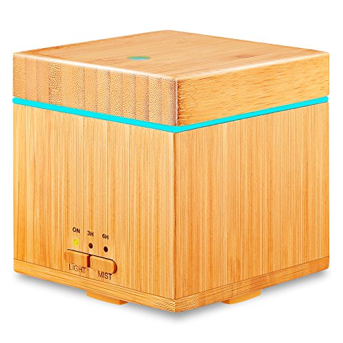 URPOWER Real Bamboo Essential Oil Diffuser 300ml Square Ultrasonic Cool Mist Humidifiers Aromatherapy Diffuser with Waterless Auto Shut-off, 7 Color LED Lights and 3 Timer Settings
