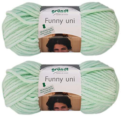 2x100 Gramm Gründl Funny Uni Softgarn SB Pack Babygarn inkl. Anleitung für EIN Funny Bunny (04 Mint)