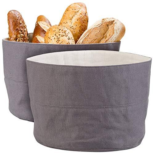 Rosenstein & Söhne Frühstücksbeutel: 2er-Set Brotkorb aus 100% Baumwolle, waschbar, Ø 20 cm (Brotkorb Stoff)