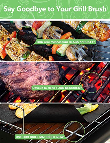 HEADMALL Grill Mat 6 Pcs, 100% Non-Stick BBQ Mats, Easy to Clean, for Barbecue Grilling & Baking, Electric Grill Gas Charcoal BBQ - 15.75 x 13 inch