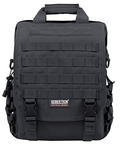Seibertron waterproof Molle Tactical 14'(inch) Laptop Sling BAG Backpack Black