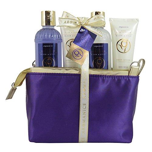 Coffret cadeau beauté pour femme - Trousse de bain violette/dorée - Collection Aromanice - Rose & Prune