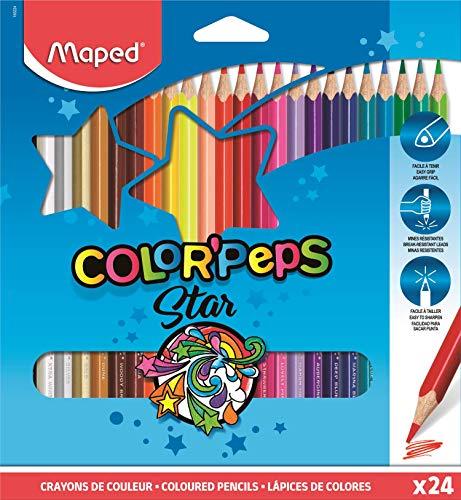 Color Peps 183224ZV Maped - estuche de 24 lápices de colores triangulares colorpeps. mina blanda y resistente.