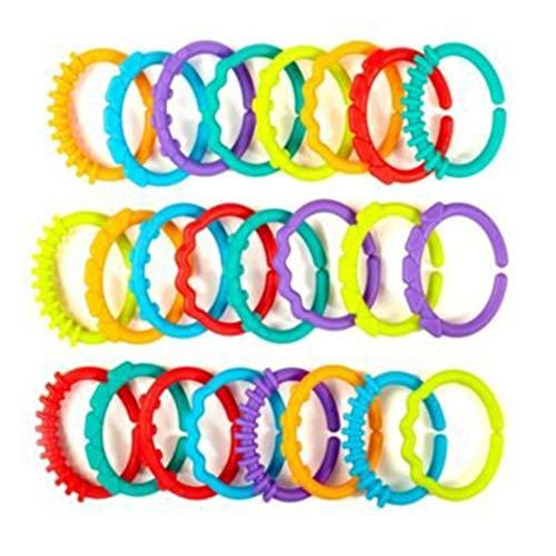 24 stücke Baby Beißring BPA FREI Kaubare Kinderkrankheiten Regenbogen Backenzähne Kette Ring Spielzeug Baby Frühe Entwicklung Spielzeug Kaemma(Color:Multicolor)