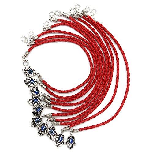 """Zhichengbosi, rote Glücksschnur mit der """"Bösen Blick""""-Hand der Fatima (Hamsa), Packungen mit 10, 15, 25 oder 50 Stück rot"""