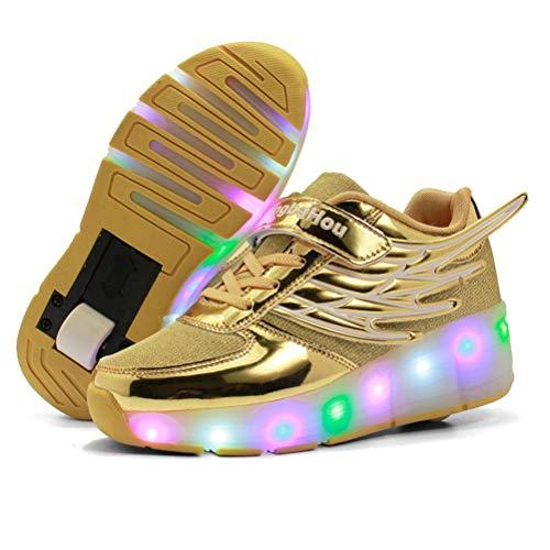 L-SLWI Jungen Und Mädchen Schuhe Flügel Schuhe Led Auto Luminous-Walking-Schuhe Kinderschuhe Leichte Schuhe Sneakers Räder Schuhe,Gold,32