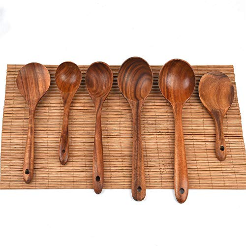 Wooden Kitchen Set 6 Piece Set - Wooden Spoon Nonstick Cookware - Natural Solid Wood-Yellow