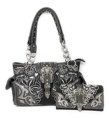 Premium Embroidered Rhinestone Buckle Concho Concealed Carry Handbag, Wallet Set in Multi-color (Black)