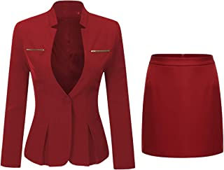 Women's 2 Piece Business Skirt Suit Set Office Lady Slim Fit Blazer and Skirt