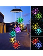 LED Solar Wind Chime Light Spiral Spinner Color Changing Garden Lamp Waterproof Outdoor Decorative Romantic for Patio Yard Garden with A Hook (Sun)