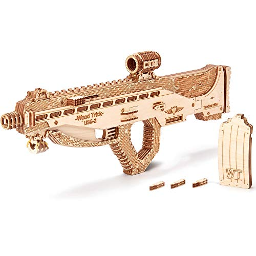 Wood Trick Assault Gun USG-2 Wooden Model Kit for Adults and Teens to Build - Rifle Guns for Kids - 3D Wooden Puzzle Mechanical Model - 18 Harmless Bullets Included