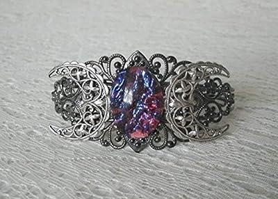 Fire Opal Triple Moon Cuff Wiccan Bracelet