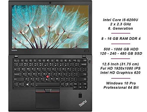 Lenovo ThinkPad X260 Mobiles Notebook, Intel i5 2 x 2.3 GHz Prozessor, 8 GB Arbeitsspeicher, 240 GB SSD, 12.5 Zoll Display, Full HD, 1920x1080, IPS, Cam, Windows 10 Pro, (Generalüberholt)
