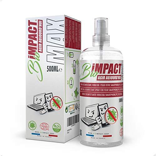 BIOIMPACT MAX (500ml) Limpia Pantallas - VIRUCIDA, Spray desinfectante movil, Limpiador Pantalla Ordenador, desinfectante para Phone, Limpieza pc - ECOCERT - Activo en Virus Norma NF EN14476+A2
