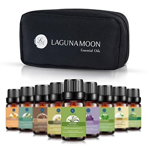 Lagunamoon,The High Achiever' ätherisches Öl Geschenk-Set Top 10 Aromatherapie-Öle Teebaum, Lavendel, Pfefferminze, Eukalyptus, Sandelholz, Zitronengras, Orange, Kamille, Jasmin, Vetiver
