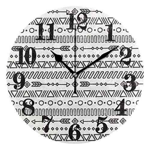 Mesllings Reloj de pared redondo clásico de línea tribal étnica bohemia clásico clásico redondo sin tictac, funciona con pilas, de cuarzo, decoración para el hogar, sala de estar, dormitorio, oficina