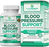 Premium Blood Pressure Support Supplement by PurePremium with Hawthorn & Hibiscus - Natural Anti-Hypertension...